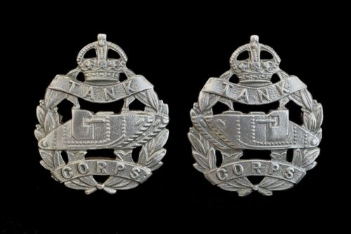 Tank Corps Collar Badges Pair Hallmarked Silver