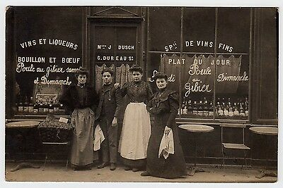 PARIS Restaurant Parisien / Dusch & Dureau * Foto-AK um 1905 Carte Photo (Restaurant, Cart)