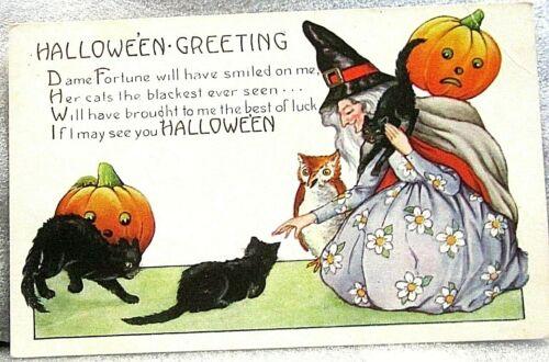 Vintage HALLOWEEN GREETING Postcard Witch Cats Owl & Jack-O-Lanterns, embossed