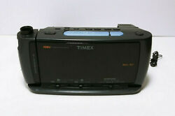 Timex T740 Digital Alarm Clock Radio Red Display Projection Soothing Sounds