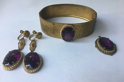 ANTIQUE VICTORIAN AMETHYST JEWELRY SET