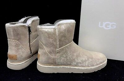 UGG ABREE MINI Starburst SHEARLING ANKLE BOOTS 1094675 sizes Metallic Gold