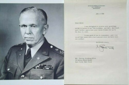 George C Marshall General Of Army Secretary State, Signed Typed Letter Authentic