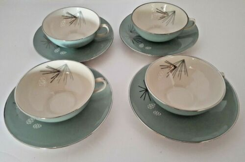 Franciscan Silver Pine Lot of 4 Cups with Saucers