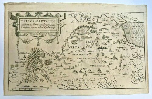 TRIBE OF NEPTAL HOLY LAND 1590 VAN ADRICHOM LARGE ANTIQUE MAP 16TH CENTURY