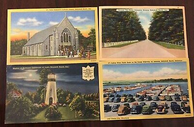 4 Rehoboth Beach, Delaware DE Postcards: Church Lighthouse Columbia Ave Boats