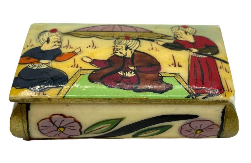Turkish Camel Bone Hand Painted Small Pill Trinket Box Souvenir