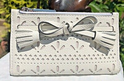 Kate Spade New York Hayes Perf Small Leather Wallet White Bow NEW $149 Authentic