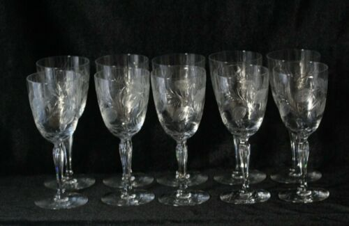 10 Antique Foliate Etched Glass Stemware Water Glasses 7 3/4""