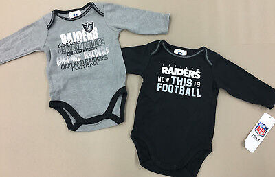 2 Long Sleeve Creeper (NFL Oakland Raiders Long Sleeve 2 Piece Creeper Set NEW With Tags 3-6 Months  )