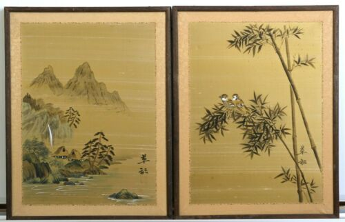 Mid-Century VGUC Japanese Golden Hand Signed & Painted Silk Hanging Wall Panels