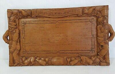 Vtg Folk Art Carve Wood Tray Relief DRUNK MAN DOG CHICKEN MELODY Man Cave 13x7
