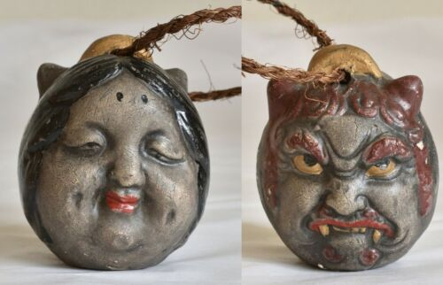 Japanese Old Clay Bell Dorei Double Face : Demon and Okame : Joren Waterfall