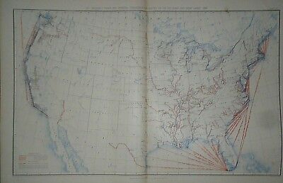 Vintage 1890 UNITED STATES MAP -NAVIGABLE RIVERS, SEA COAST & GREAT LAKES