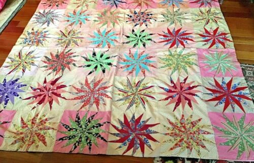 Antique hand made very different pattern quilt wonderful colors