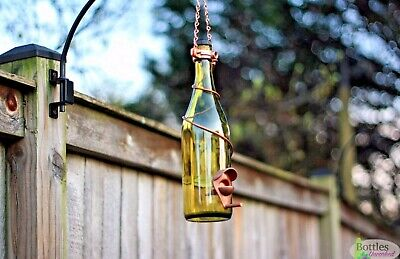 Handmade Yellow  And Copper Glass Wine Bottle Bird Feeder - Mothers Day Gift