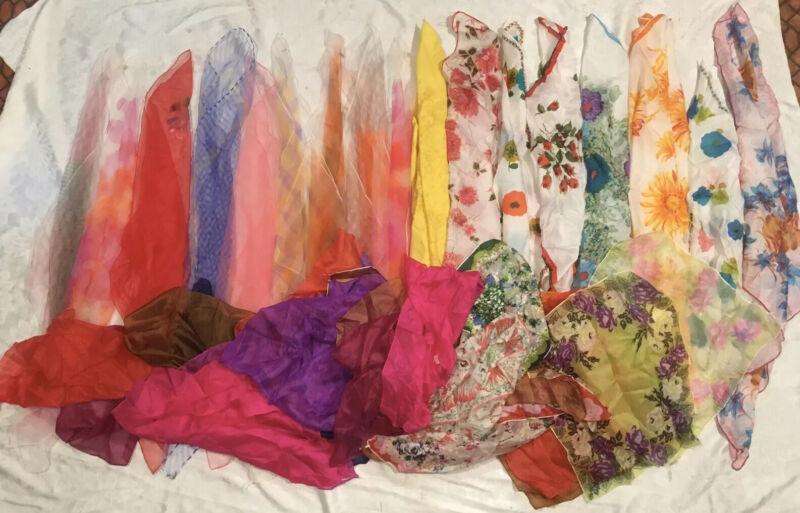 Lot Of 43 Vtg Sheer Nylon Rayon Pure Silk Scarves Japan Various Sizes