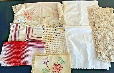 Vintage Lot of 8 Tablecloth Embroidery Crochet Candlewicking 1950s Linen