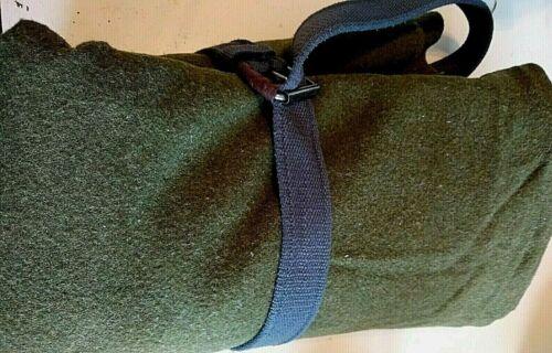 Original Wool Army Green Blanket 66 x 84 Burlington Woolens OG-118 + Belt