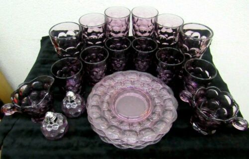 Vintage Heisey/Imperial Provincial Amethyst Glass/Dish Set of 20 Thumbprint  -W-