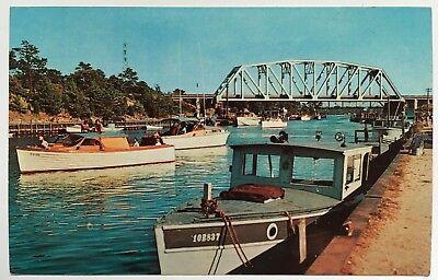 NY Postcard Long Island New York Shinnecock Canal waterway vintage boats Chrome