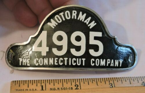 Rare 1920s Motorman Badge Connecticut Company Trolley Badge 4995