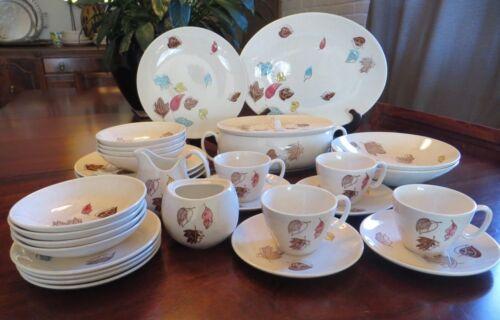 Royal China Falling Leaves Dinnerware 31 pcs MCM Autumn Place Settings 4 + extra
