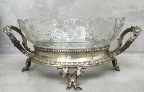 """Antique German centerpiece high quality silver plate and alpaca silver 1800""""s"""