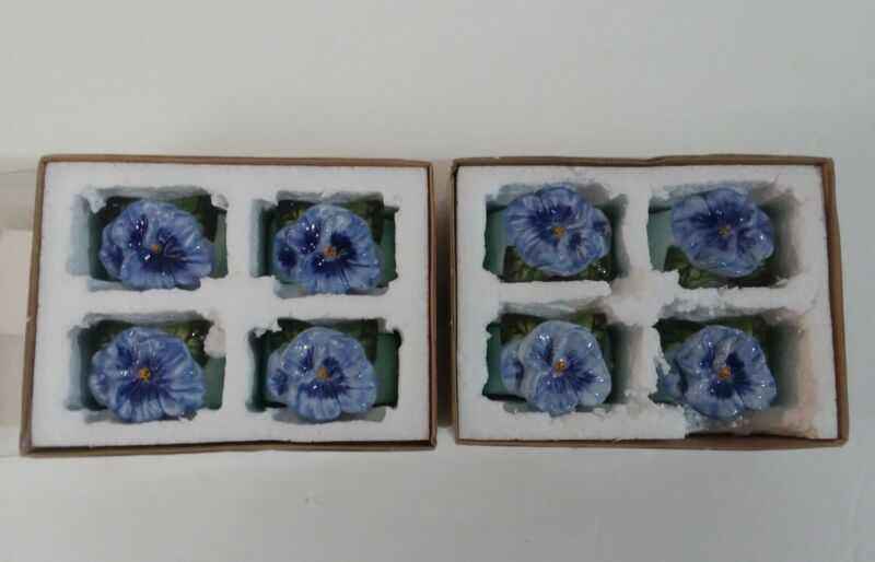Ceramic Pansy Napkin Rings by Kathy Hatch Set Of 8 Excellent Preowned Condition