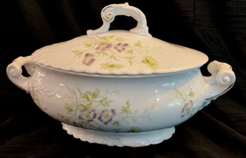 Antique/Vintage Royal Austria Purple Floral Dinnerware Soup Tureen With Lid