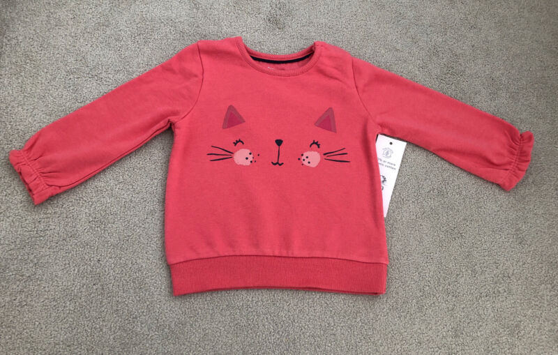 F&F Pink Cat Jumper 12-18 Months - New With Tags