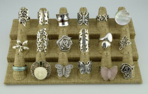 Lot of 18 Sterling Silver Multi Gemstone Statement Rings Bands Various 7 8 9 10