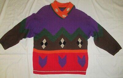 Vtg 80s J.C. de Castelbajac ICEBERG wool blend Sweater Sz 44 oversize colorful