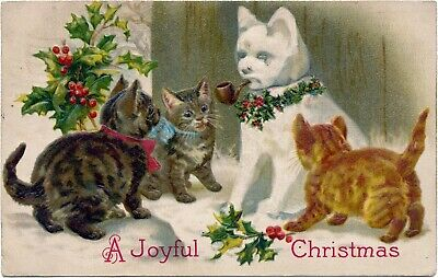 Helena Maguire Postcard - Cats Admire Their Newly Built Snow Cat