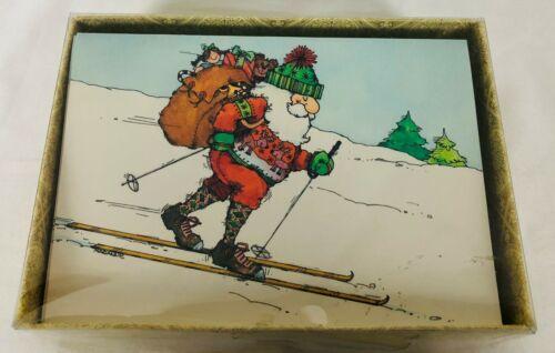 Vintage Box of 24 Unused Christmas Cards Santa Claus on Skis Hallmark USA 70