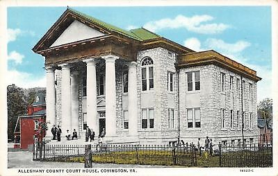 Covington Virginia~Alleghany County Court House~Men on Steps & Lawn~1920s PC ()