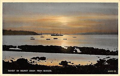 Northern Ireland Postcard Sunset On Belsfast Lough From Bangor J0 067