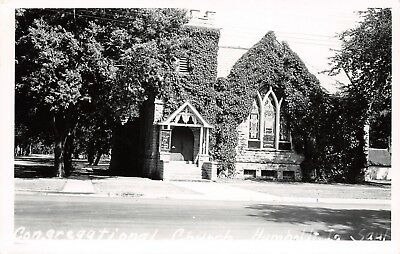 Humboldt Iowa~Ivy-Topped Congregational Church~Stained Glass Windows RPPC c1950 ()