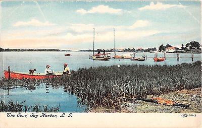 c.1908 Sailboats in Cove Sag Harbor LI NY post card