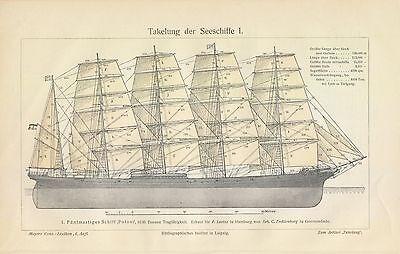 TAKELUNG DER SEGELSCHIFFE I und II Potosi Schifffahrt LITHOGRAPHIE 1908