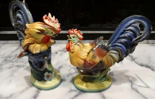 "Lot 2 Large Vintage ARTMARK FIGHTING ROOSTER FIGURINES Colorful Ceramic Japan 9"""