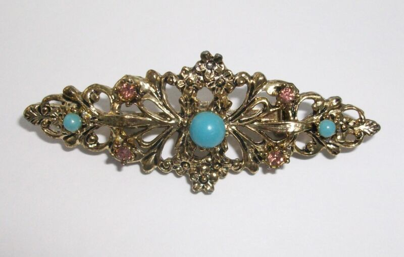 Pin Brooch Pink Rhinestones Faux Turquoise Gerrys Goldtone Metal Victorian Style