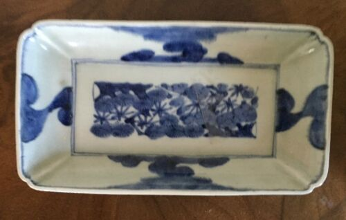 Antique Japanese Blue & White Porcelain Rectangular Serving Dish Chinese Taste