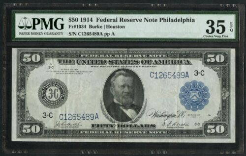 Fr1034 $50 1914 Frn Philadelphia Pmg 35 Epq Choice Vf Rare 108 Recorded Wlm4369