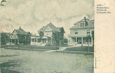 C1906 Postcard  Willow Street Residences  Coffeyville Ks Montgomery Co  Unposted