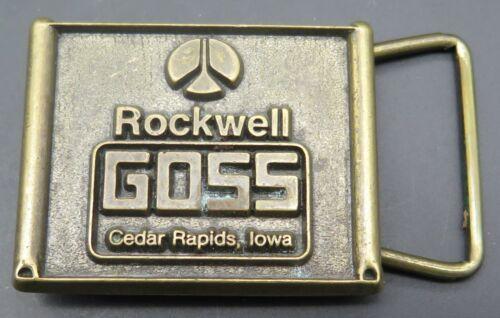 Rockwell Goss Cedar Rapids Iowa Printing Press Company Small Belt Buckle