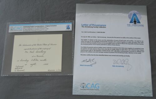 Neil Armstrong Family Collection Owned Gemini 8 Card + Signed COA CAG Apollo 11