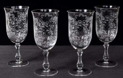 Set (4) ROSENTHAL SANSOUCCI Etched Crystal Stemmed Water Goblets Glasses 8oz