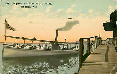 Wisconsin, WI, Madison, Angleworm Station Boat Landing 1914 Postcard