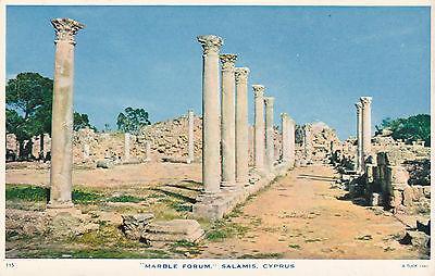 CYPRUS POSTCARD FAMAGUSTA SALAMIS MARBLE FORUM MOURETTOS C 1952